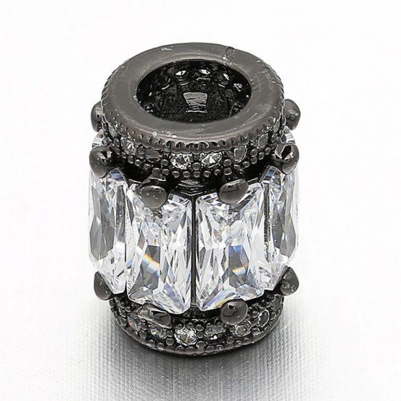 Cirkon kristályos köztes gyöngy. 11.5x9.8mm. Fekete szín.
