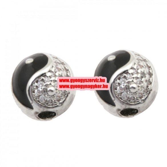 Cirkon kristályos gyöngy. Yin-yang. 12mm. Ezüst-fekete szín.