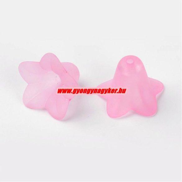 Akril virág gyöngy. 16x12mm Matt pink. 10db/csomag.