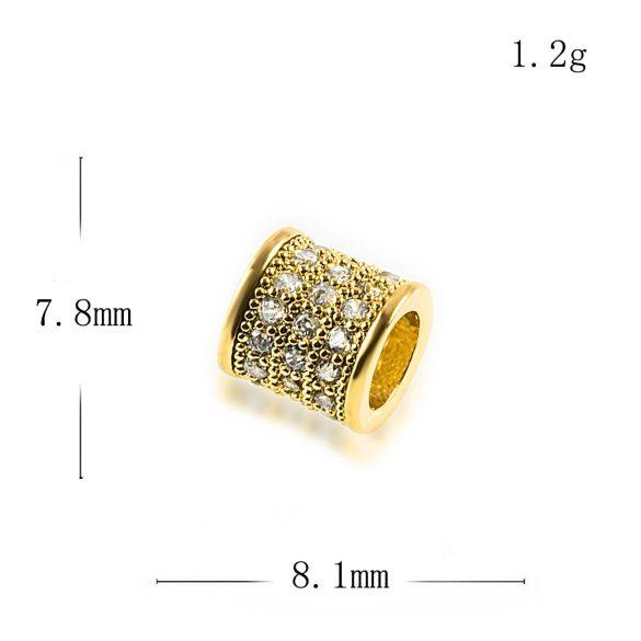 Cirkon cső köztes gyöngy. 8mm. Arany szín, fehér kristály.