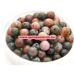 Ásványgyöngy, féldrágakő gyöngy. Indiaachát. 10mm.  1 szál (40cm).