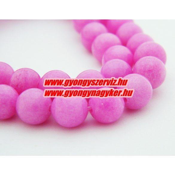 Jade ásványgyöngy. 8mm. Pink. AAA. 1 szál. (kb. 40cm)