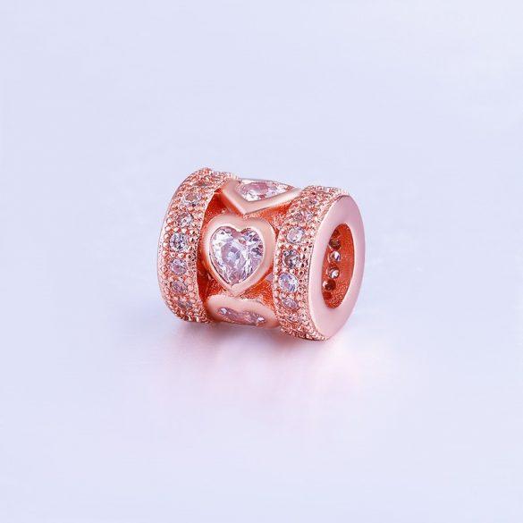 Cirkon kristályos köztes gyöngy. 9x8mm. Rózsaarany szín.