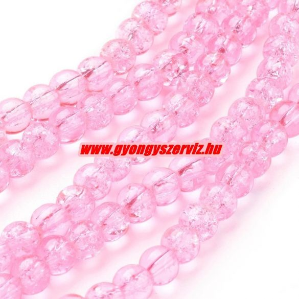 Roppantott üveggyöngy. 6mm, 8mm. Rózsaszín. 100db/csomag.