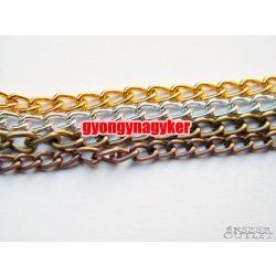 Ékszer lánc. Fém lánc. Arany, ezüst,antik réz, antik bronz színben. 10m. Leárazva!