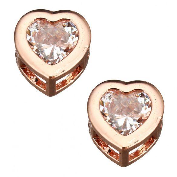 Cirkon kristályos szív köztes gyöngy. Rózsaarany szín.