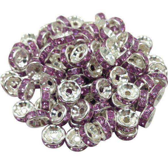 Strasszos fém köztes gyöngy. Rondell. Rózsaszín. 8x3.5mm. AAA.  20db/csomag.