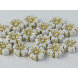 Cseh üveggyöngy. Virág. Fehér, arany. 10db/csomag. 9mm.