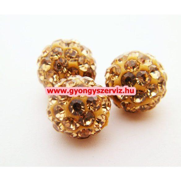 Shamballa gyöngy. 10 mm. Arany.  10db.