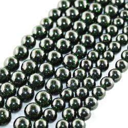 Ásványgyöngy, féldrágakő gyöngy. Zöld napkő.  8mm.  1 szál. (kb. 40cm)