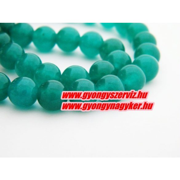 Jade ásványgyöngy. 8mm. Smaragd. 1 szál. (kb. 40cm)