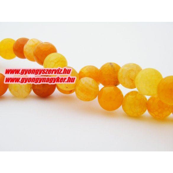 Roppantott narancs achát ásványgyöngy. 10mm.  1 szál (40cm).