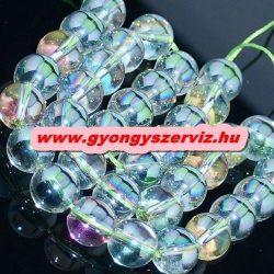 Aura kvarc, aura kristály. 6mm. Szívárvány.