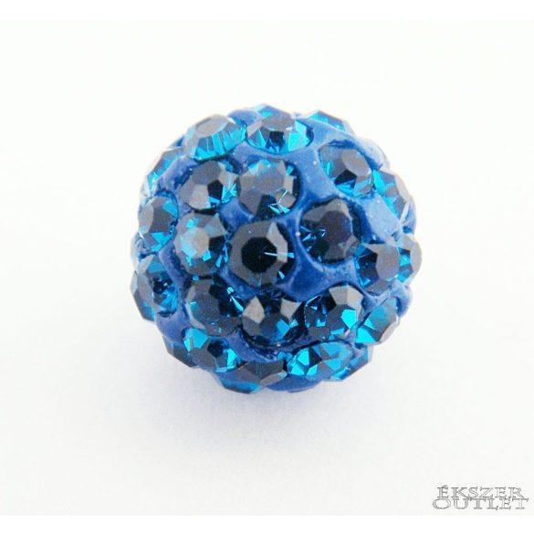 Shamballa gyöngy. 10 mm. Kobalt.   10db.