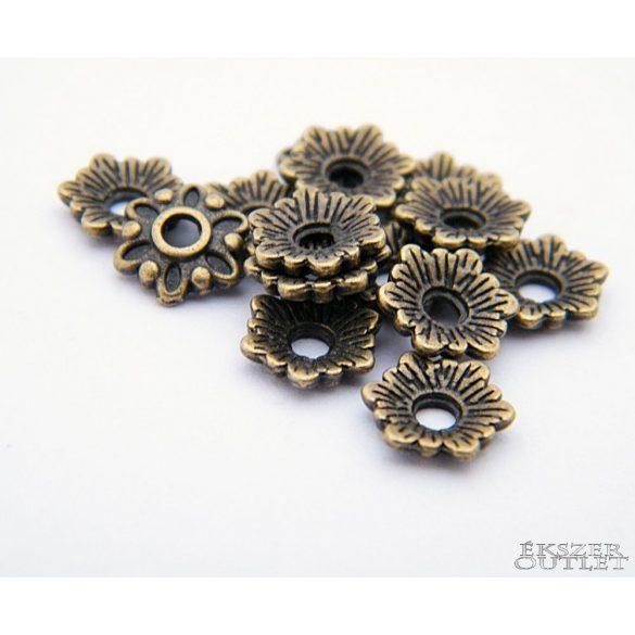 Gyöngykupak. Fém gyöngy. Virág.  8x2mm. Antik bronz.   100db.