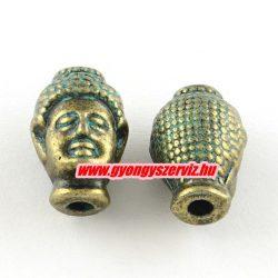 Buddha fej,fém köztes gyöngy. 13x9x8mm. Antik bronz, patina szín. 2db