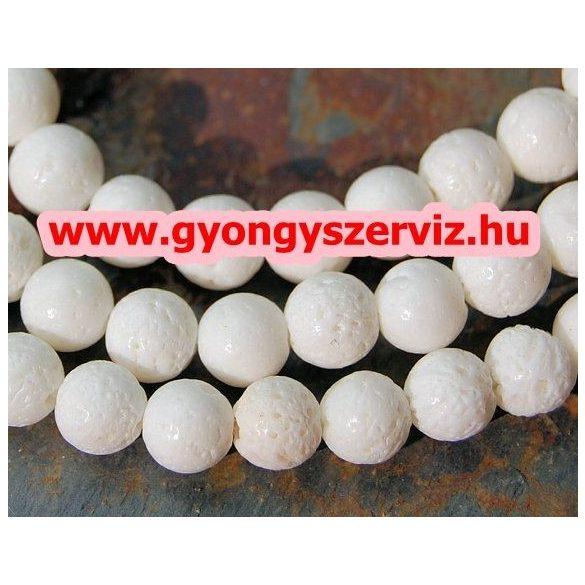 Fehér szivacskorall gyöngy. 8mm.  1 szál, kb. 40cm.