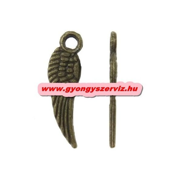 Fém medál, fityegő. Angyal szárny. 5x17 mm. Antik bronz szín. 100db.