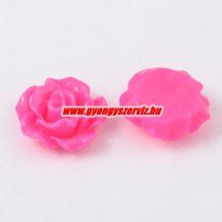 Fűzhető gyanta virág kaboson. 9x7mm. Pink. 10db.