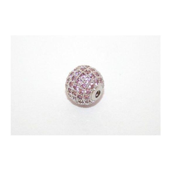 Cirkon köztes gyöngy. 10mm. Platina szín, rózsaszín kristály.