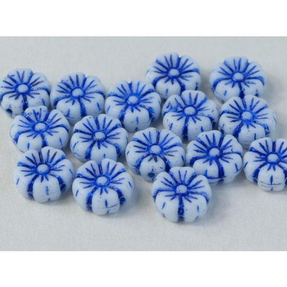 Cseh üveggyöngy. Virág. Kék. 10db/csomag. 9mm.