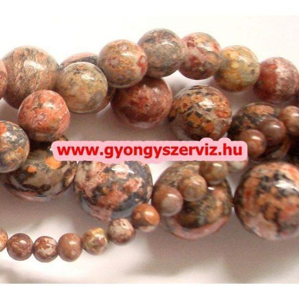 Leopárd jáspis ásványgyöngy, féldrágakő, ékszer gyöngy. 12mm. 1 szál, kb. 40cm.