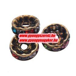 Rondell. Strasszos köztes gyöngy, rondella. 10x2mm. Antik bronz, szívárvány. AAA.  20db/csomag.