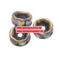 Rondell. Strasszos köztes gyöngy, rondella. 6mm. Antik bronz-irrizáló.  20db/csomag.