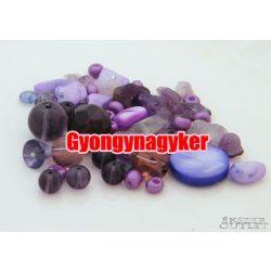 Vegyes gyöngy válogatás. Üveg, ásvány gyöngy mix. 50g/csomag. 4  szín!