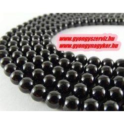 Fekete turmalin (sörl ) ásványgyöngy. 8mm. 1 szál, kb. 40cm.