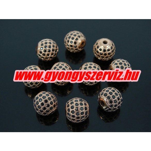 Cirkónia kristályos köztes gyöngy. 10mm. Rózsaarany szín, fekete kristállyal.