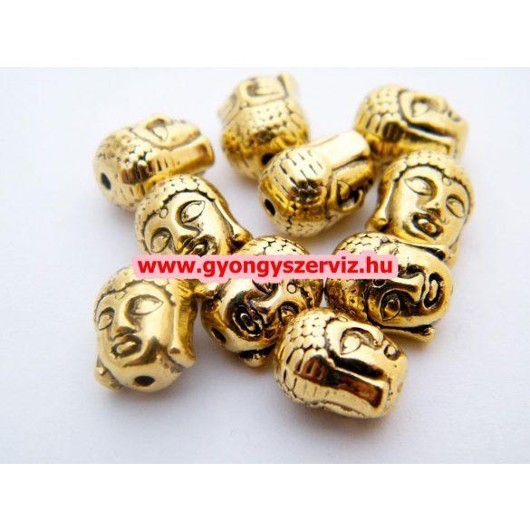 Fémgyöngy. Köztes gyöngy. Buddha. Antik arany szín. 10db.