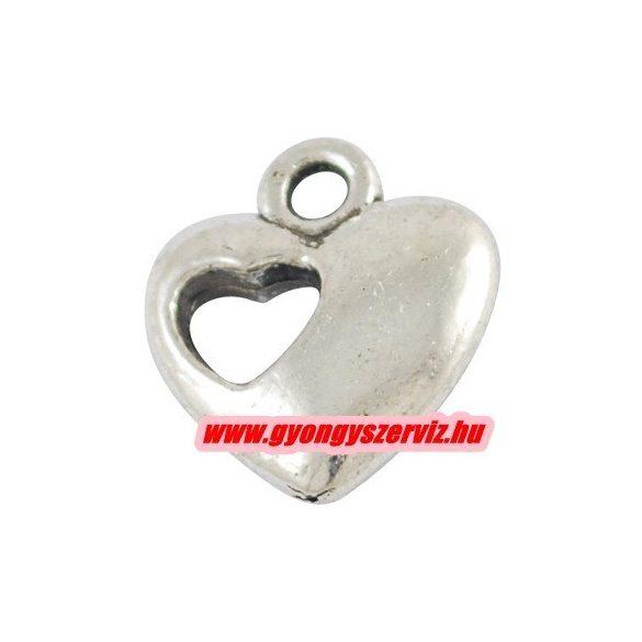 Fém medál, fityegő. Dupla szív. 11x13mm. Antik ezüst szín. 10db.