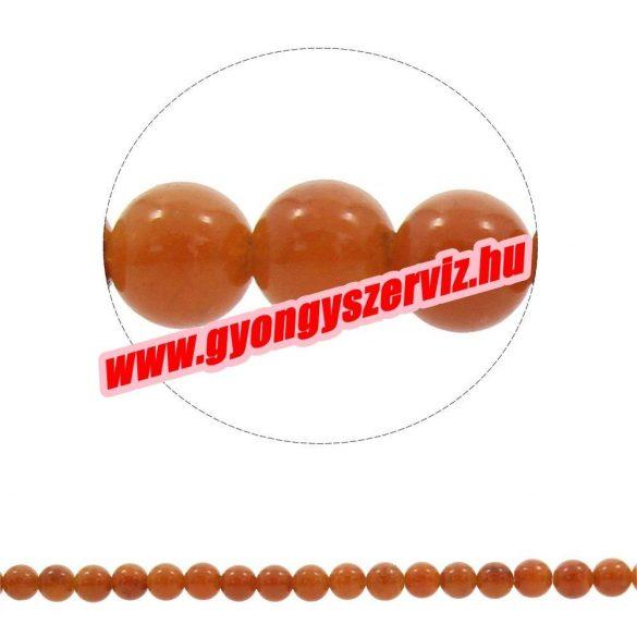 Ásványgyöngy, féldrágakő gyöngy. 8mm.  Vörös aventurin.  1 szál ( Kb. 40cm).