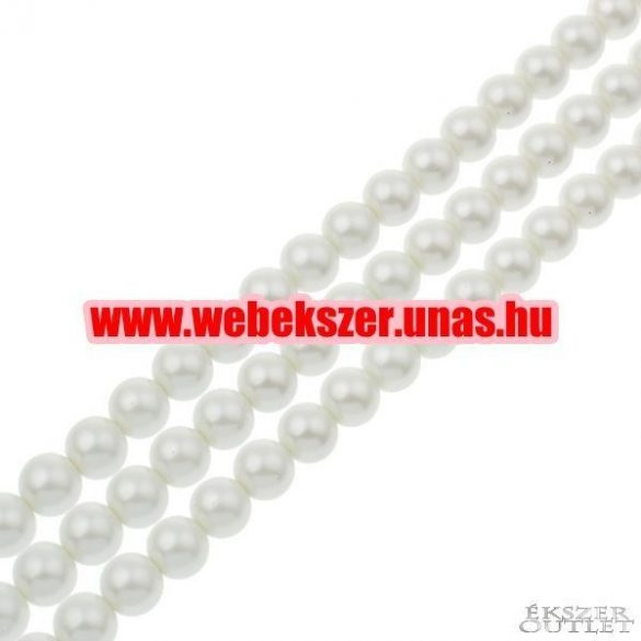 Shell pearl gyöngy. 10mm. Fehér.   1 szál. (kb. 40cm)