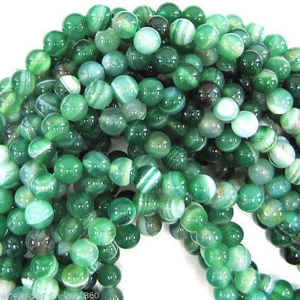 Zöld csíkos achát ásványgyöngy. 4mm. 1 szál (40cm).