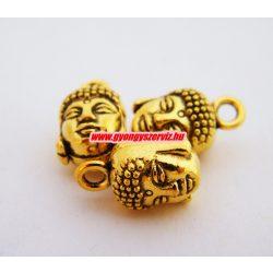Buddha fej medál, fityegő. 9x8x15mm. Antik arany szín. 10db.