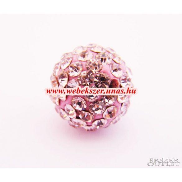 Shamballa gyöngy. Kristály gyöngy. 12mm. Rózsaszín.  10db.