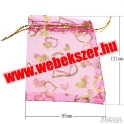 Organza tasak 9.5x12.1cm. Rózsaszín. 10db/csomag