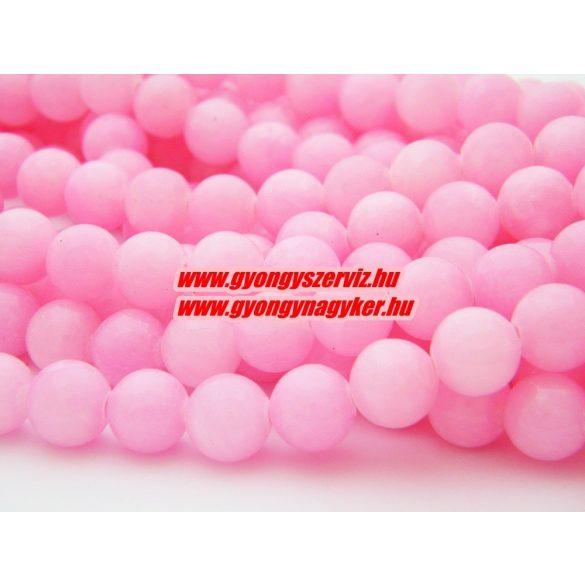 Jade ásványgyöngy. 6mm. Pink. 1 szál, kb. 40cm.
