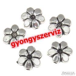 Virág. 10x9x4mm. Antik ezüst szín. Fémgyöngy, köztes gyöngy. 10db/csomag.