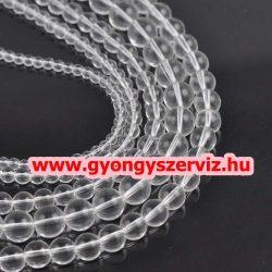 Ásványgyöngy, féldrágakő, ékszer gyöngy. Hegyikristály. 12mm. 1 szál (kb. 40cm).