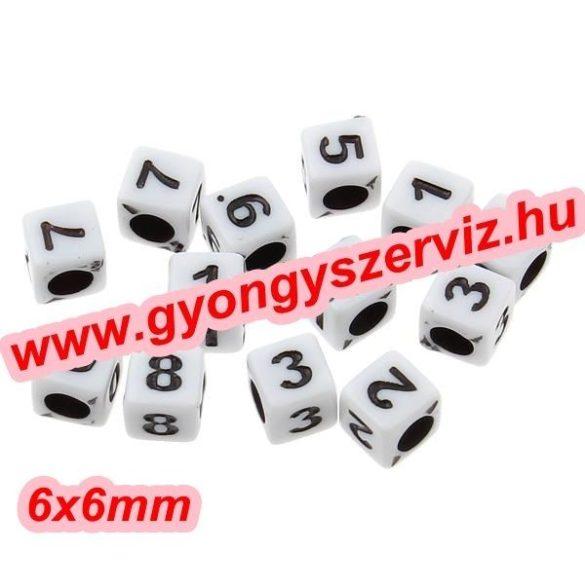 Műanyag szám  gyöngy. Akril gyöngy. 6x6mm.  100db/csomag. Mix.