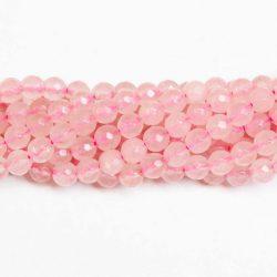 csiszolt (fazettált ) rózsakvarc ásványgyöngy. 6mm. 1 szál.