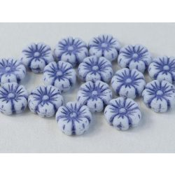 Cseh üveggyöngy. Virág. Fehér, kék . 10db/csomag. 9mm.