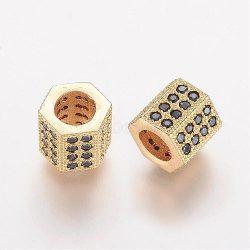 Cirkon kristályos, hexagon köztes gyöngy. 7.1x7.3mm. Arany szín, fekete kristály.