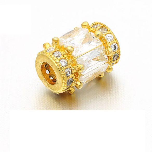 Cirkon kristályos köztes gyöngy. 11.5x9.8mm. Arany szín.