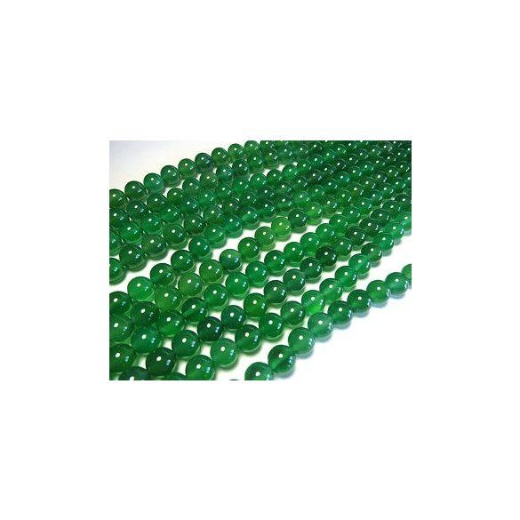 Zöld achát ásványgyöngy . 10mm.  1 szál (40cm).