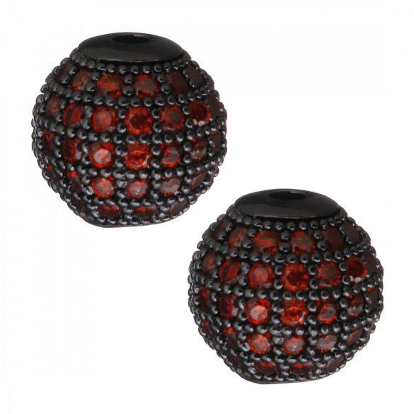 Cirkon köztes gyöngy. 8mm. Fekete szín, piros kristály.