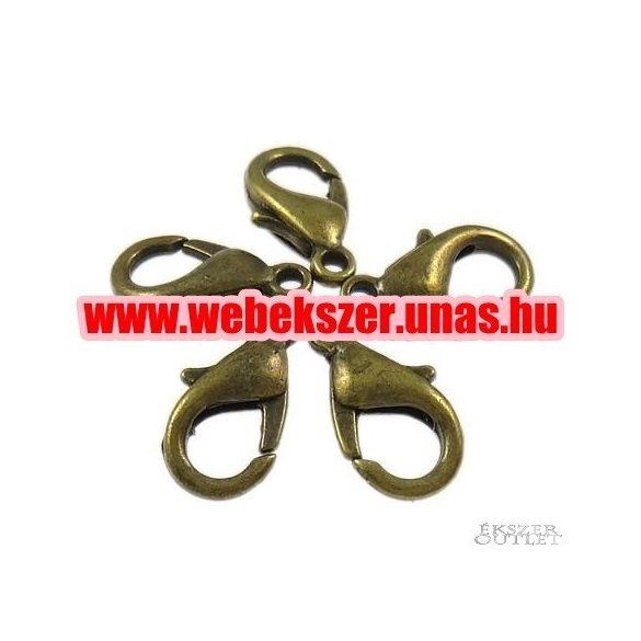 Delfin zár. Ékszer kapocs. 7x12x3.50mm. Antik bronz.     20db.
